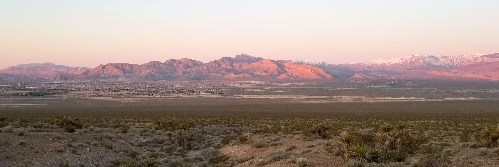 Sunrise view toward La Madre Mountains Wilderness | Gass Peak Eastern Summit Ultra-marathon Adventure, Nevada