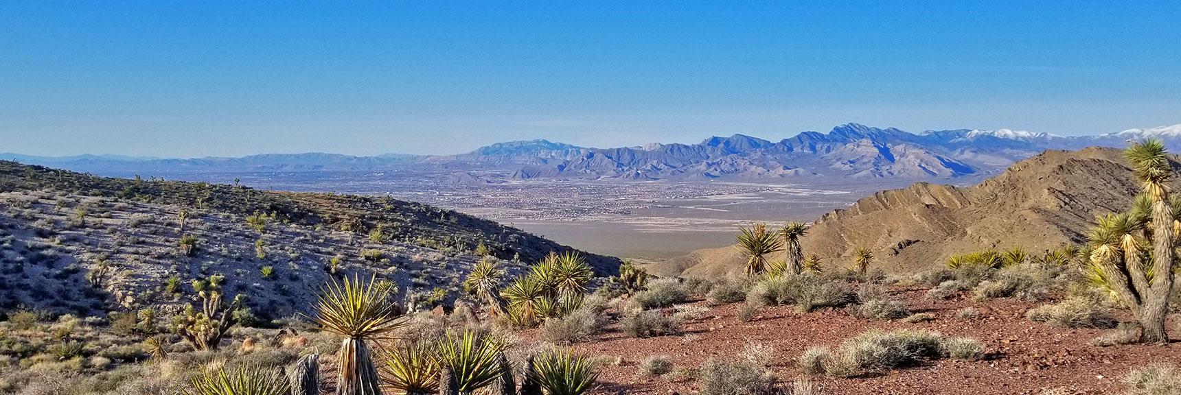 Looking Back Through the Castle Rock/Gass Peak Pass Toward Northern Las Vegas and the La Madre Mountains Wilderness | Gass Peak Eastern Summit Ultra-marathon Adventure, Nevada
