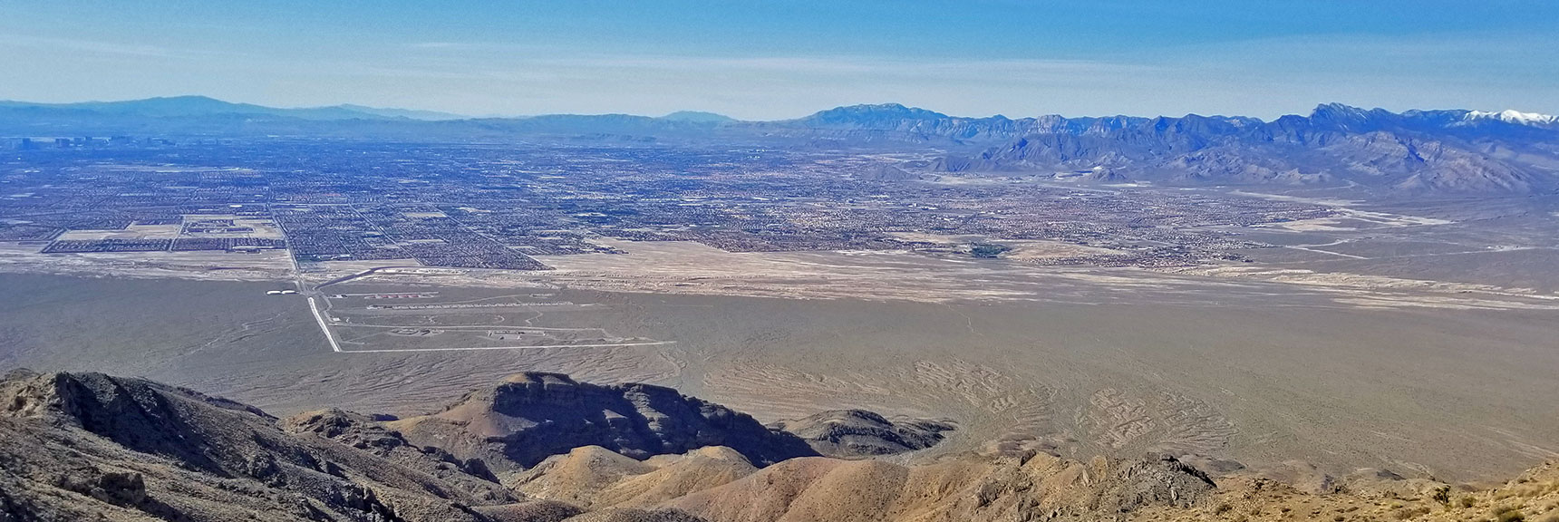View of Las Vegas and the Western Mountains Upon Topping the Gass Peak Mid-Summit Ridge | Gass Peak Eastern Summit Ultra-marathon Adventure, Nevada