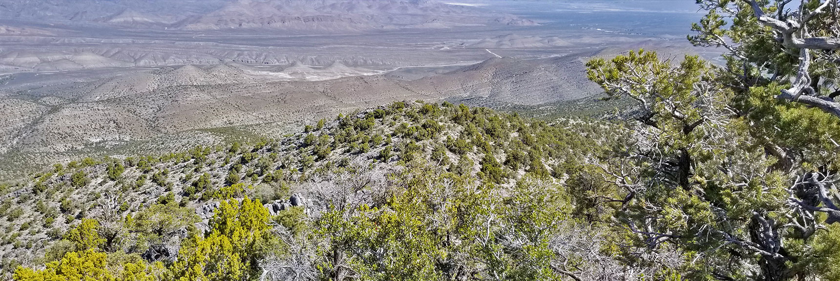 View to Origin Point at Intersection of Kyle Canyon & Harris Springs Rd from La Madre Mountain Nevada Northern Approach and High Points