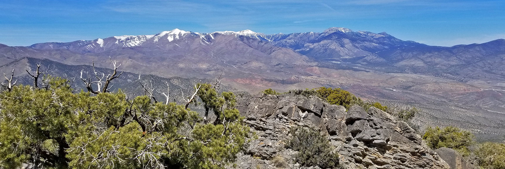 Mt Charleston Wilderness Viewed from the 7400ft High Point on the La Madre Mountain Nevada Northern Approach
