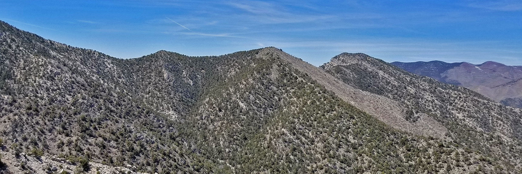 Keystone Thrust Looking West Viewed from the 7400ft High Point on the La Madre Mountain Nevada Northern Approach
