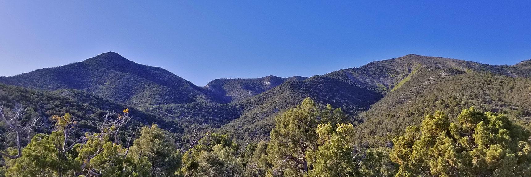 La Madre Mountain Final Approach Ridge, El Padre Mountain and Summit to Right | La Madre Mountain Northern Approach, Nevada