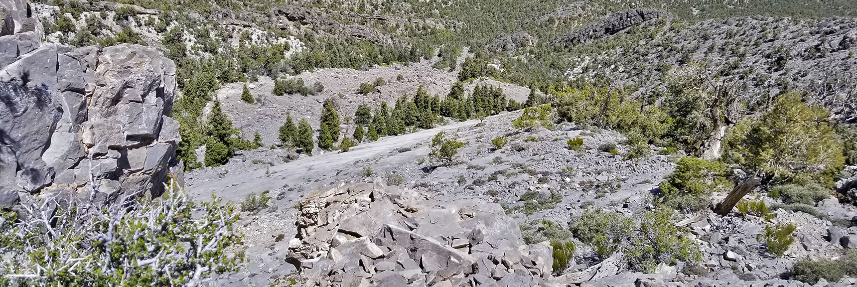 View Straight Down Devil's Slide from Its Summit | La Madre Mountain Northern Approach, Nevada