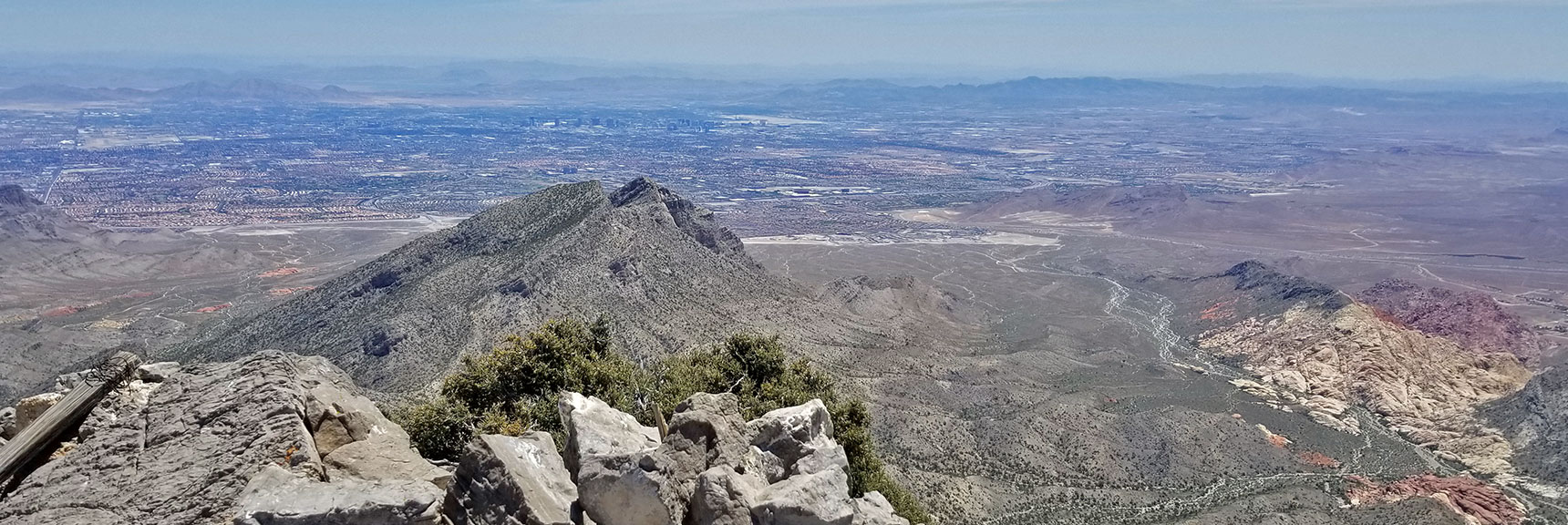 Damsel Peak and Southern Las Vegas Valley from La Madre Mountain Summit | La Madre Mountain Northern Approach, Nevada