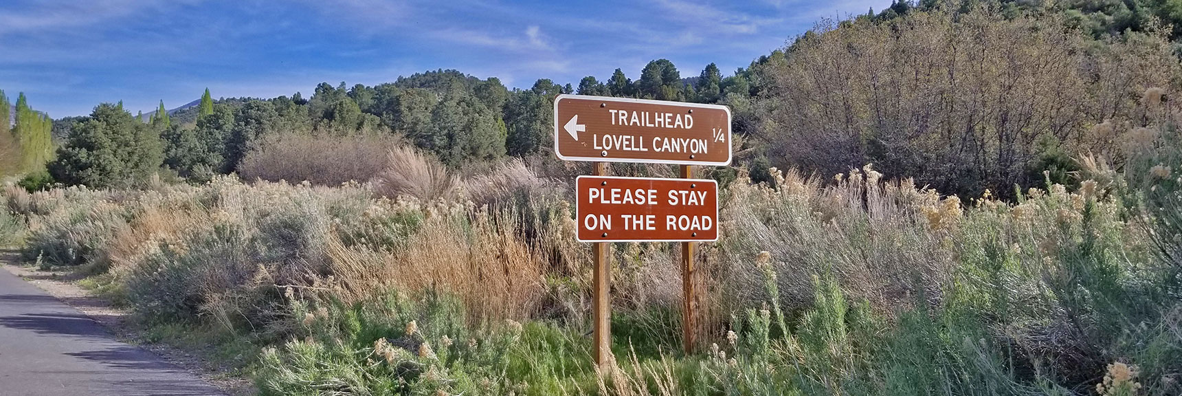 End of 12-mile Paved Road, Lovell Canyon Trail, La Madre Mountains Wilderness, Nevada