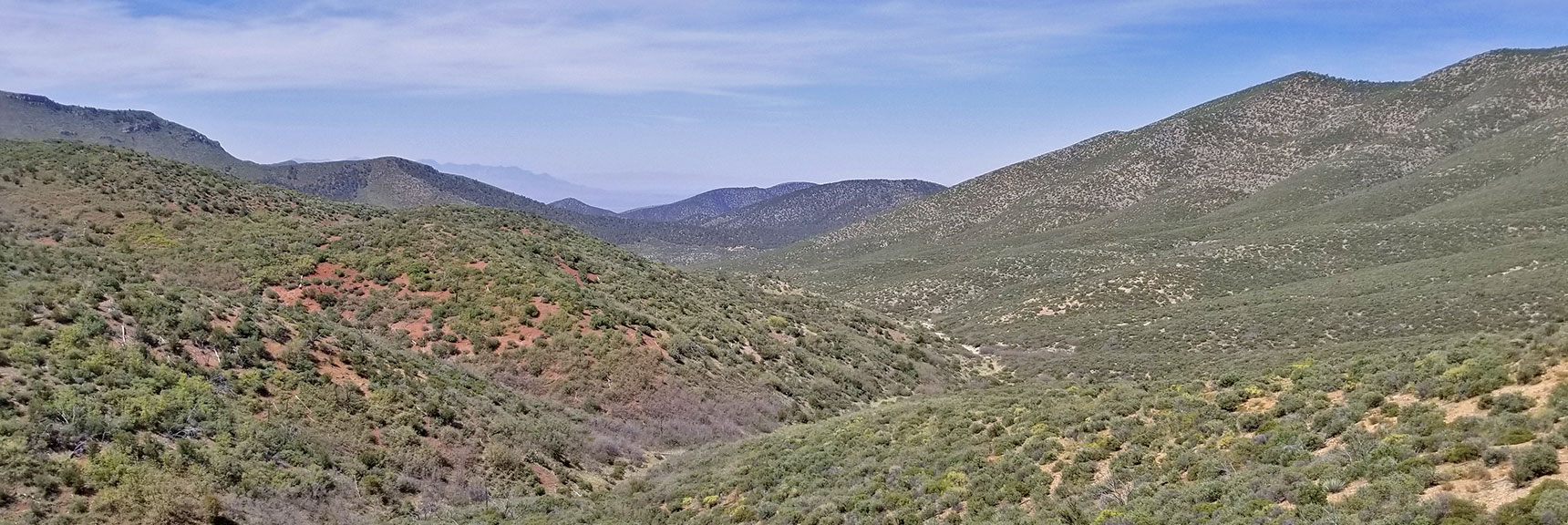 View Toward Pahrump (Down Trout Canyon?) from Griffith Shadow Trail, La Madre Mountains Wilderness, Nevada