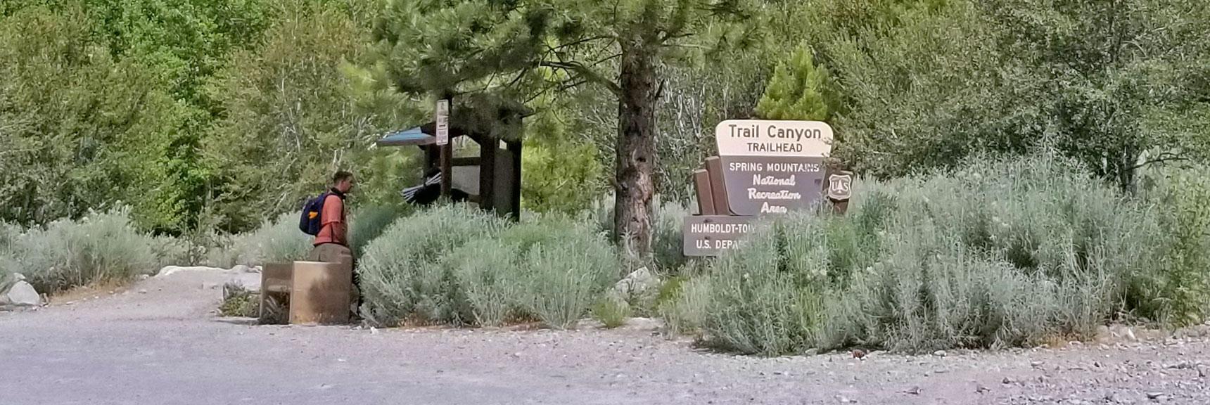Trail Canyon Trailhead Parking Lot Starting Point for the Six Peak Circuit Adventure | Six Peak Circuit Adventure in the Spring Mountains, Nevada
