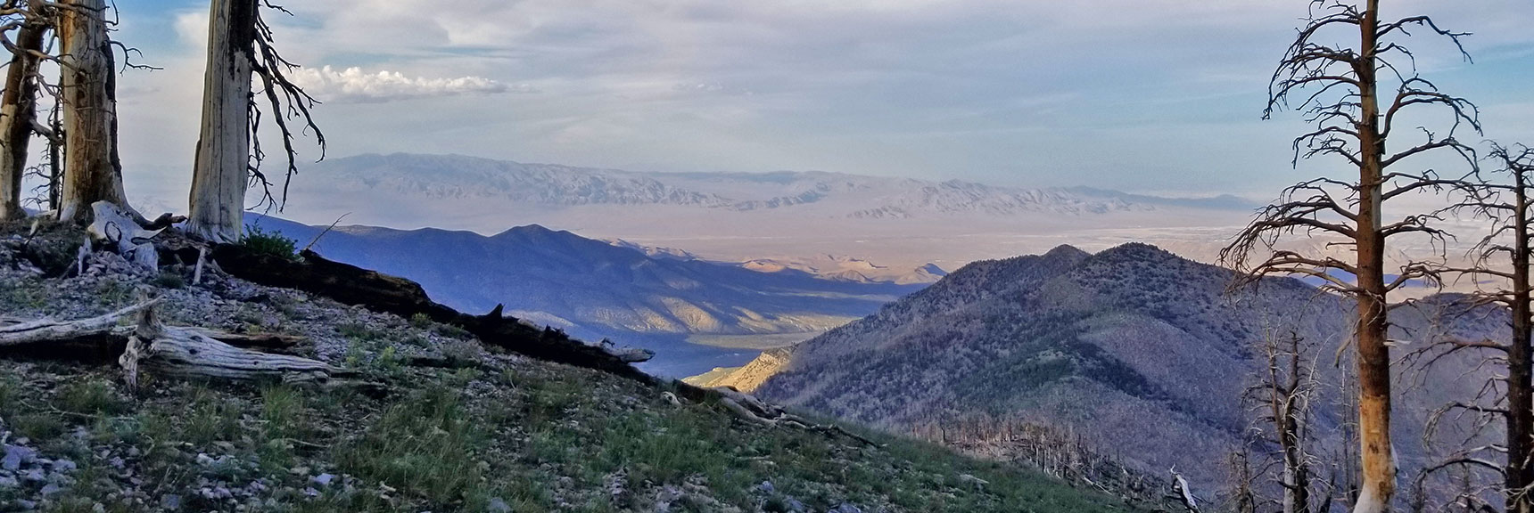 Harris Mountain Viewed Down Griffith Peak North Ridge. Sheep Range and Gass Peak in Background. | Six Peak Circuit Adventure in the Spring Mountains, Nevada