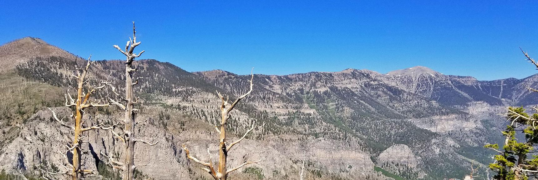 Griffith Peak, Kyle Canyon South Ridge and Charleston Peak from Harris Mountain Summit | Harris Mountain Griffith Peak Circuit in Mt. Charleston Wilderness, Nevada