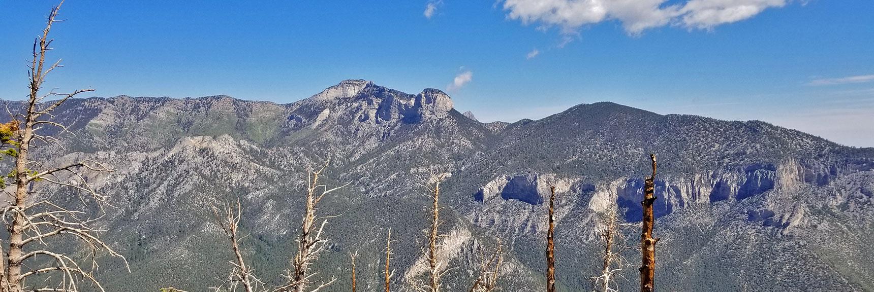 Mummy Mountain and Fletcher Peak from Harris Mountain Summit | Harris Mountain Griffith Peak Circuit in Mt. Charleston Wilderness, Nevada