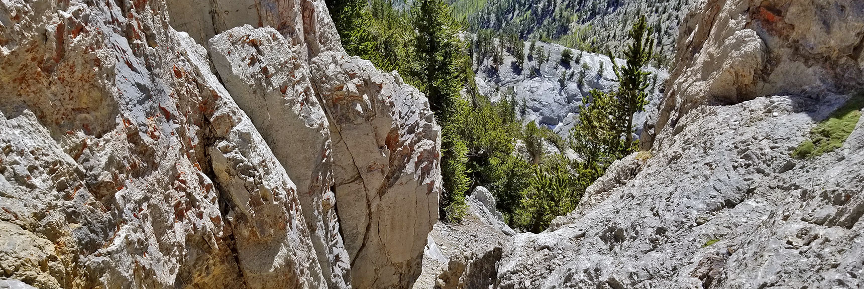 Return Down the Western Summit Approach Canyon   Mummy Mountain Nevada Northeast Approach