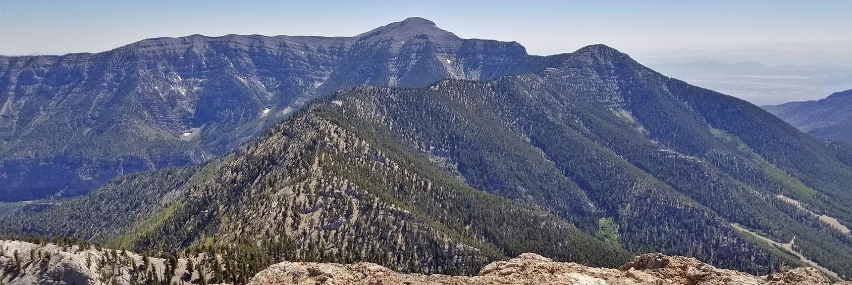 Charleston Peak, Lee Peak, North & South Ridge of Kyle Canyon from Mummy Mountain Summit   Mummy Mountain Adventure with Glenn & Shoshi Hall, Spring Mountains Wilderness, Nevada 012