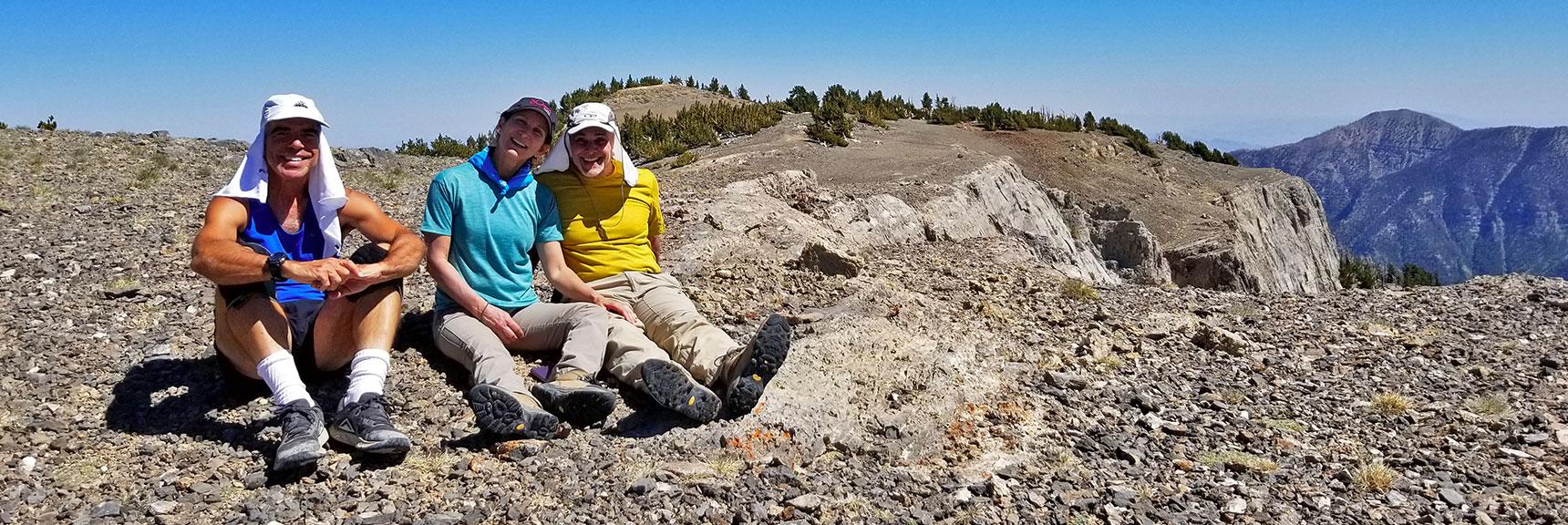 David, Shoshi and Glenn on Mummy Mountain Summit   Mummy Mountain Adventure with Glenn & Shoshi Hall, Spring Mountains Wilderness, Nevada 015