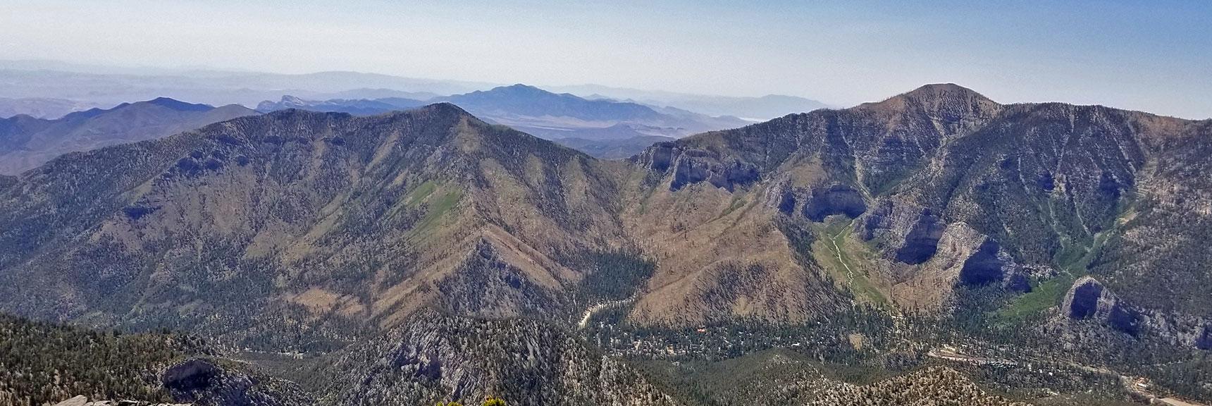 Harris Mt., Griffith Peak and Lovell Canyon Viewed from Mummy's Toe Summit   Mummy Mountain's Toe, Mt. Charleston Wilderness, Nevada