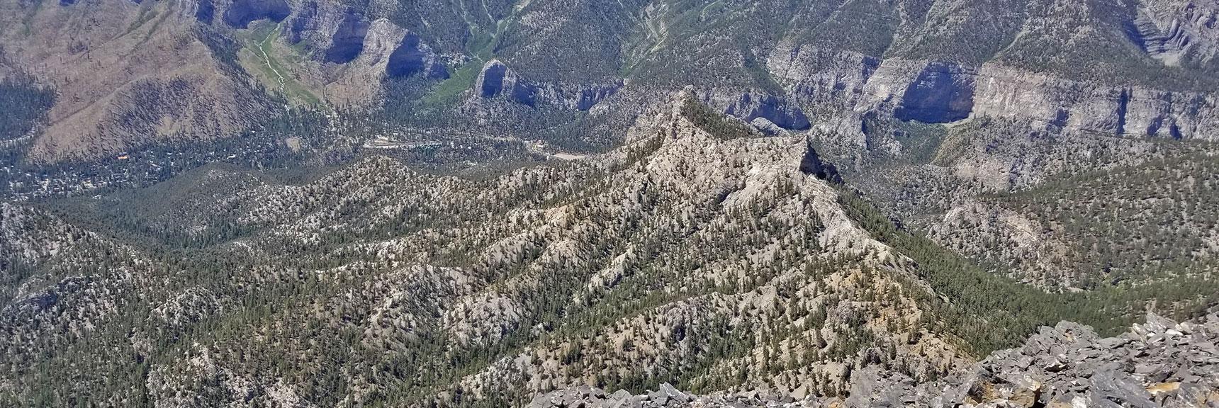 Cockscomb Ridge and Charleston Village Viewed from Mummy's Toe Summit  Mummy Mountain's Toe, Mt. Charleston Wilderness, Nevada