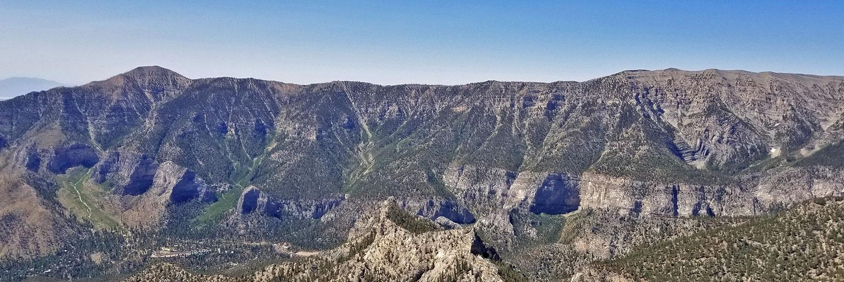 Griffith Peak and Kyle Canyon South Ridge Viewed from Mummy's Toe Summit   Mummy Mountain's Toe, Mt. Charleston Wilderness, Nevada