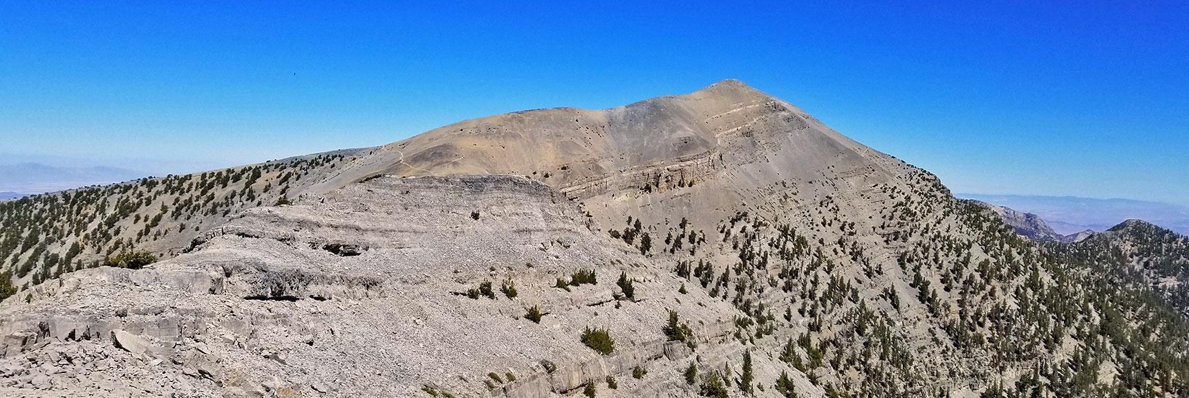 Charleston Peak from Kyle Canyon Upper South Ridge | Griffith Peak & Charleston Peak Circuit Run, Spring Mountains, Nevada
