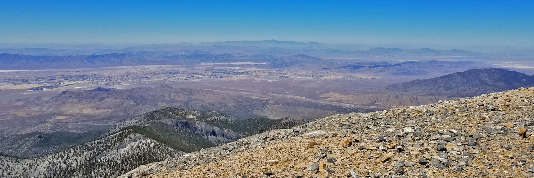 Pahrump with Telescope Peak in Background from Charleston Peak | Griffith Peak & Charleston Peak Circuit Run, Spring Mountains, Nevada