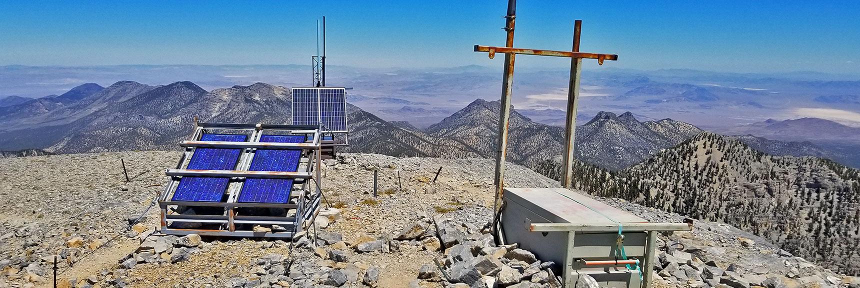 Weather Equipment on Charleston Peak Summit | Griffith Peak & Charleston Peak Circuit Run, Spring Mountains, Nevada