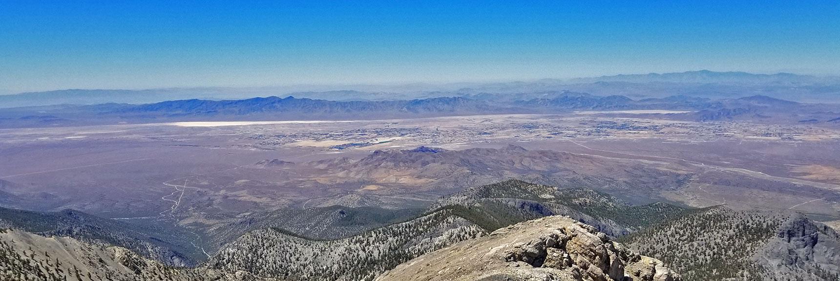 Pahrump with Telescope Peak in Background from Charleston Peak Summit | Griffith Peak & Charleston Peak Circuit Run, Spring Mountains, Nevada