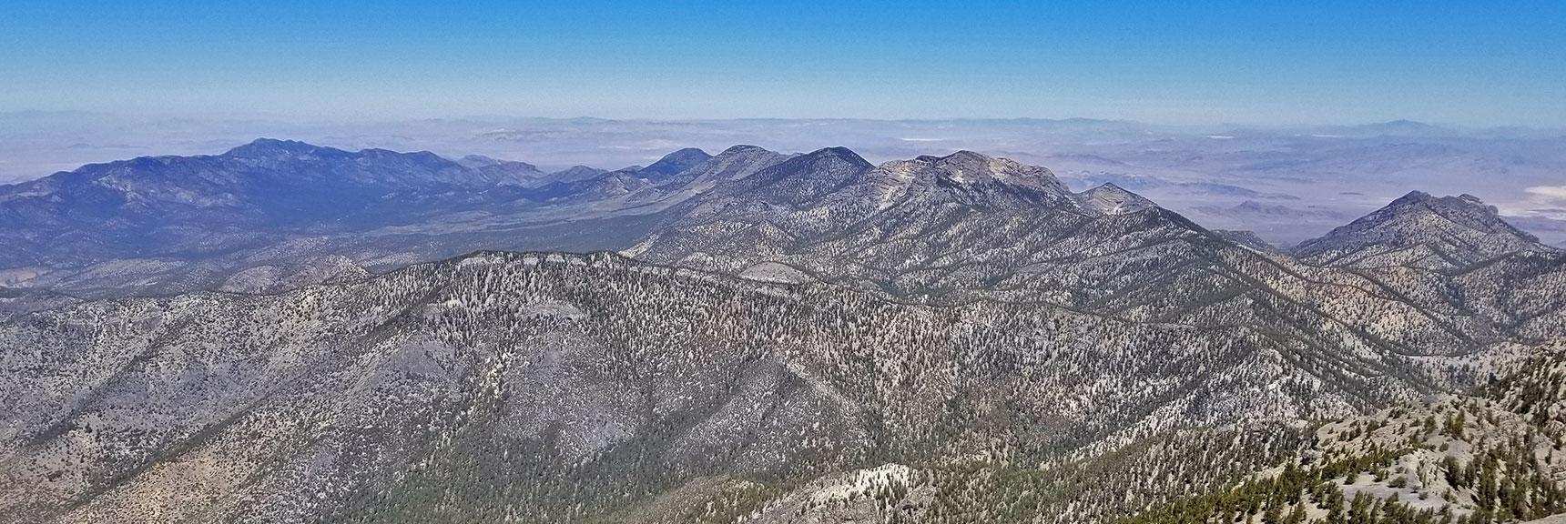 View West of Charleston Peak from the Summit | Griffith Peak & Charleston Peak Circuit Run, Spring Mountains, Nevada