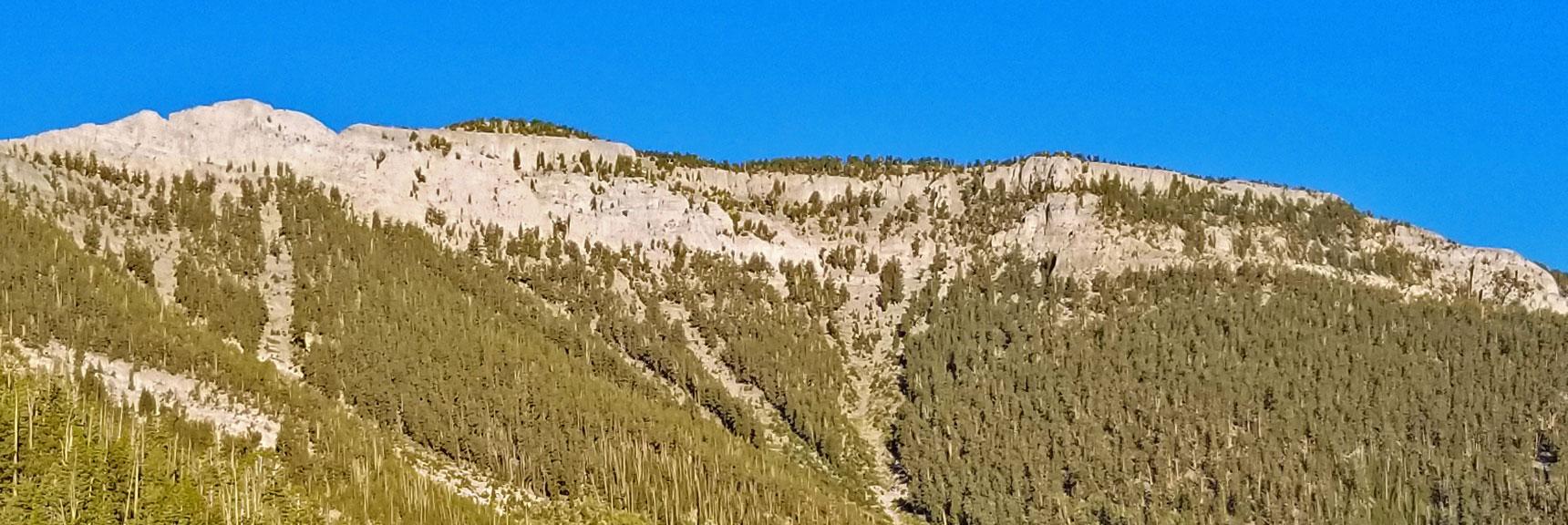 Mummy Mountain's East Side Approaches Enlarged   Mummy Mountain NNE, Mt. Charleston Wilderness, Nevada, Slide 002