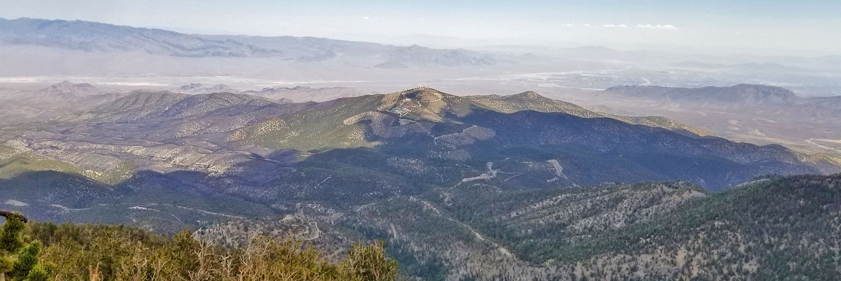 Centennial Hills, Gass Peak and Sheep Range from Mummy Mountain's Northeastern Cliffs   Mummy Mountain NNE, Mt. Charleston Wilderness, Nevada, Slide 029