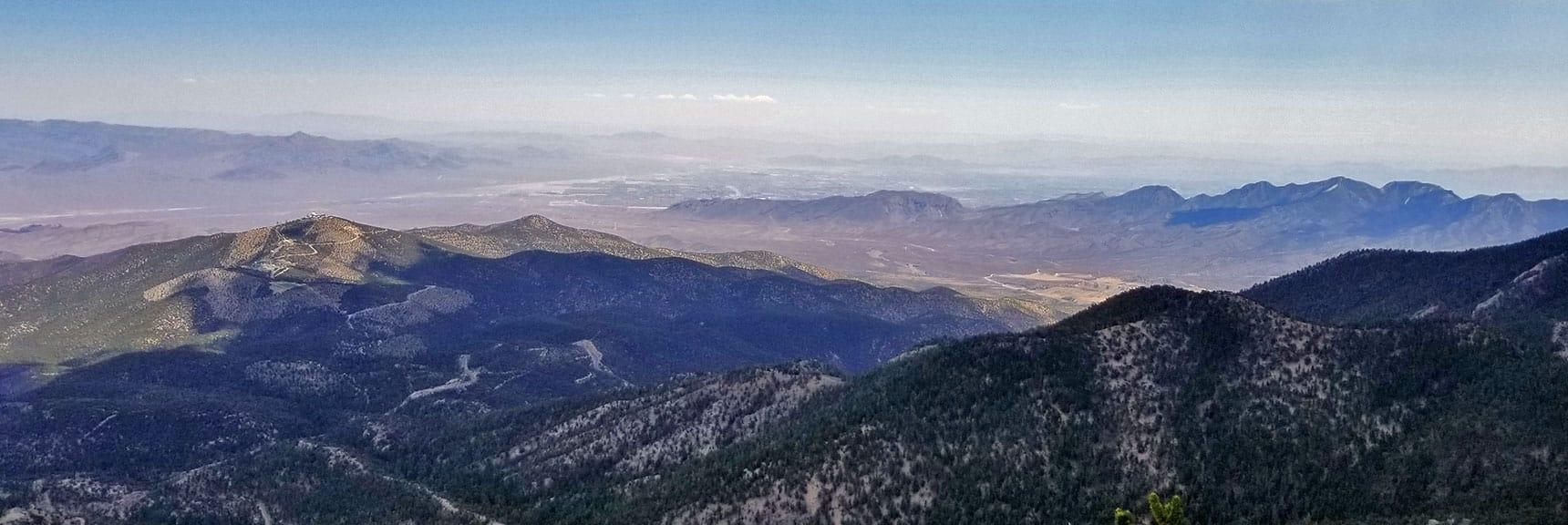 Centennial Hills and La Madre Mountain Viewed from Mummy Mountain's Northeastern Cliffs   Mummy Mountain NNE, Mt. Charleston Wilderness, Nevada, Slide 030