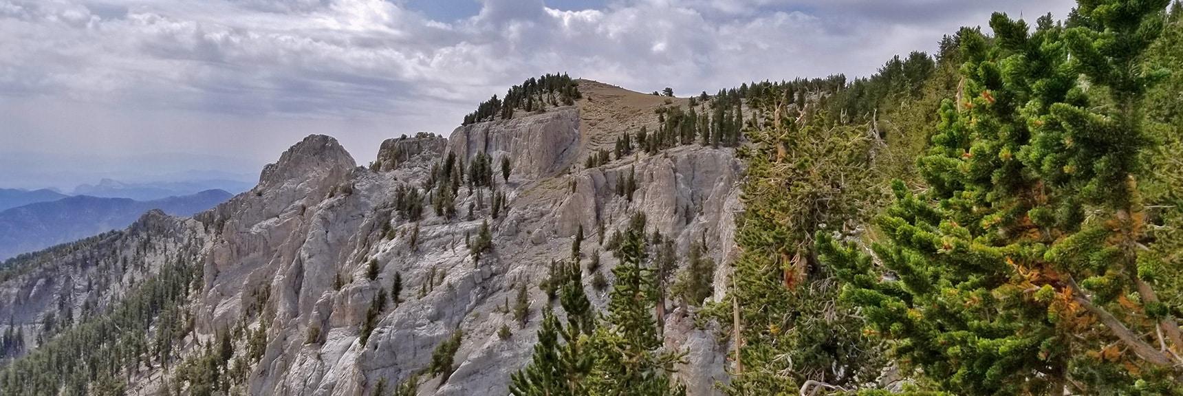 Viewing Mummy Mt. Summit and Summit Cliffs   Mummy Mountain Northern Rim Overlook, Spring Mountain Wilderness, Nevada