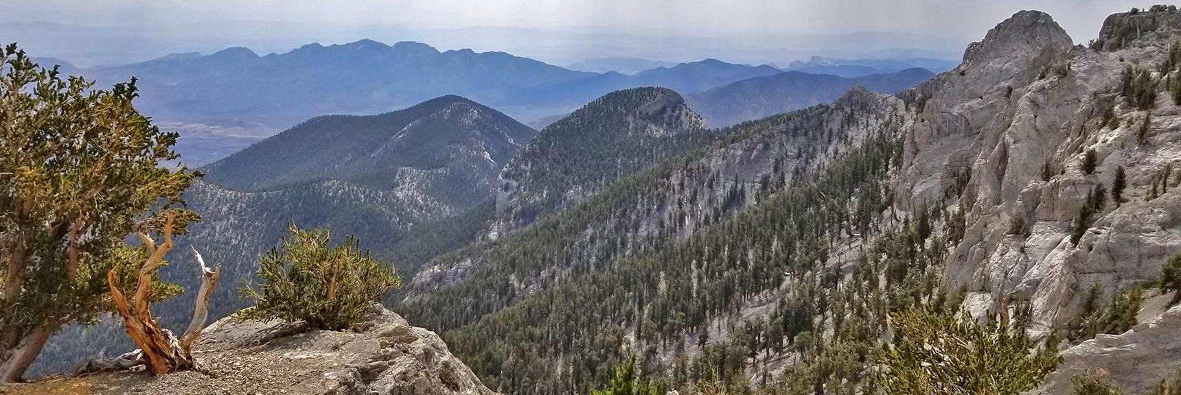 View of La Madre Mt., Fletcher Peak, Mummy Mt. Toe and Eastern Cliffs   Mummy Mountain Northern Rim Overlook, Spring Mountain Wilderness, Nevada