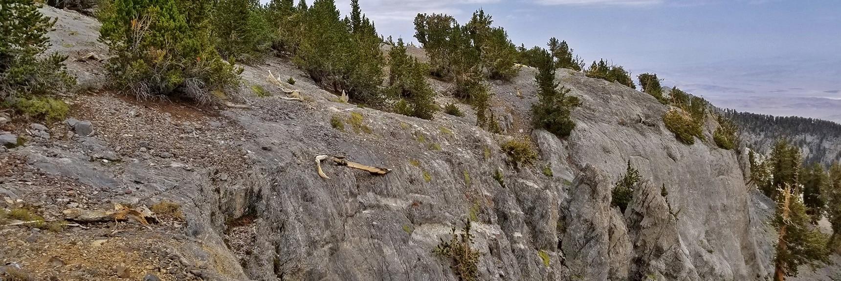 Mummy Mt. Northeastern Summit Cliffs from Above   Mummy Mountain Northern Rim Overlook, Spring Mountain Wilderness, Nevada