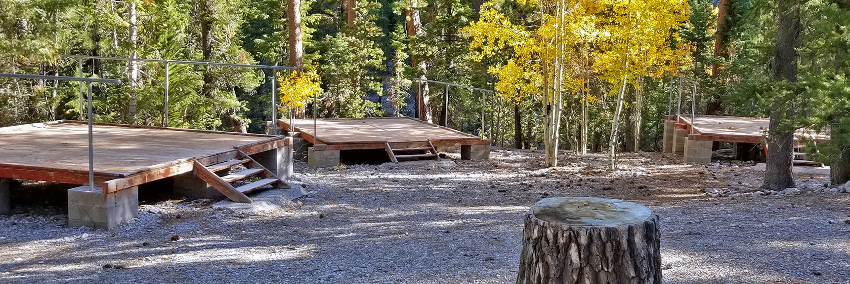 Meeting Platforms at Camp Foxtail Girl Scouts Camp   Foxtail Canyon   Foxtail Girl Scouts Camp   Mt Charleston Wilderness   Spring Mountains, Nevada