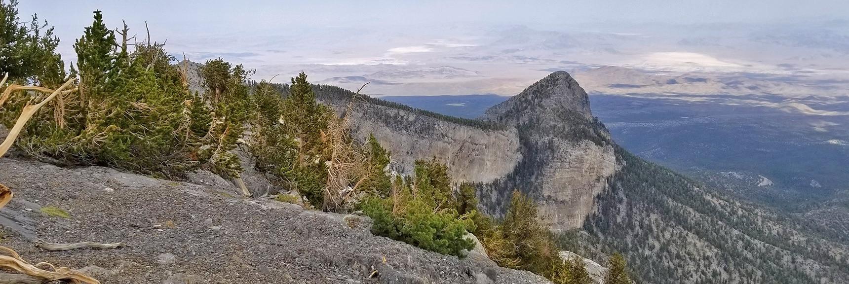 View of Mummy's Head from the Eastern Summit Cliffs   Mummy Mountain Northern Rim Overlook, Spring Mountain Wilderness, Nevada