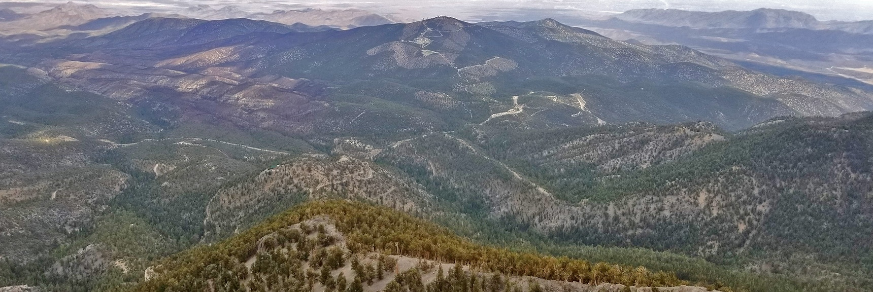 View Down to Charleston Observatory and North Loop Trailhead from Eastern Summit Cliffs   Mummy Mountain Northern Rim Overlook, Spring Mountain Wilderness, Nevada