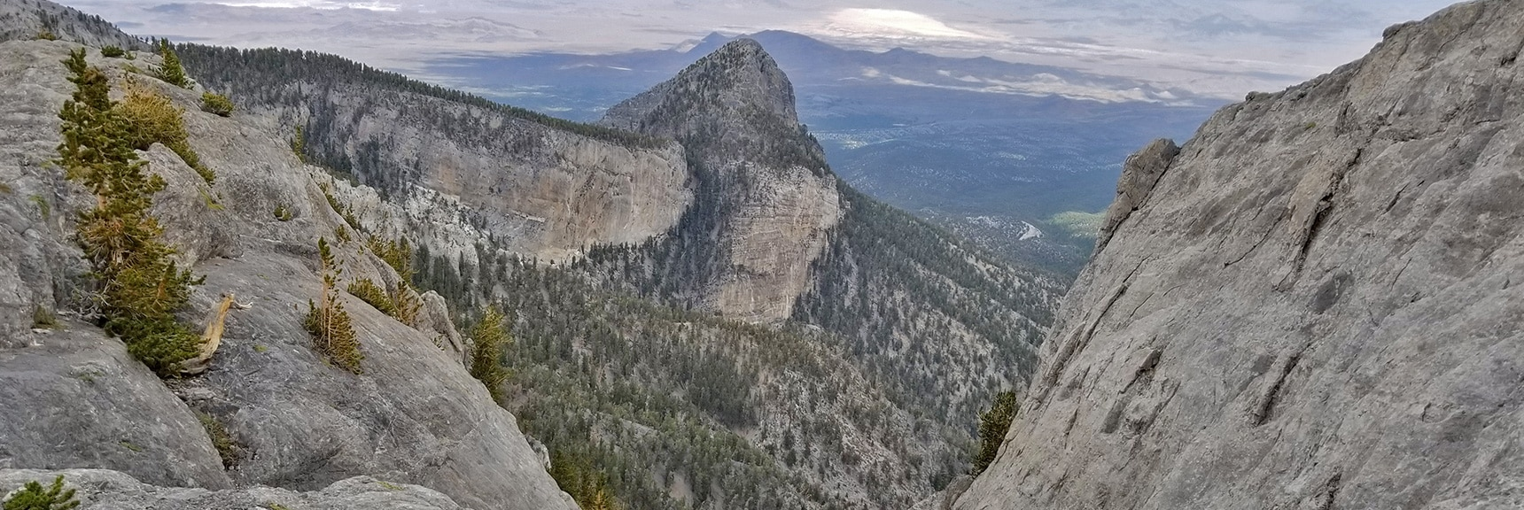 View Down Steep Canyon Toward Mummy's Head from Eastern Summit Cliffs   Mummy Mountain Northern Rim Overlook, Spring Mountain Wilderness, Nevada