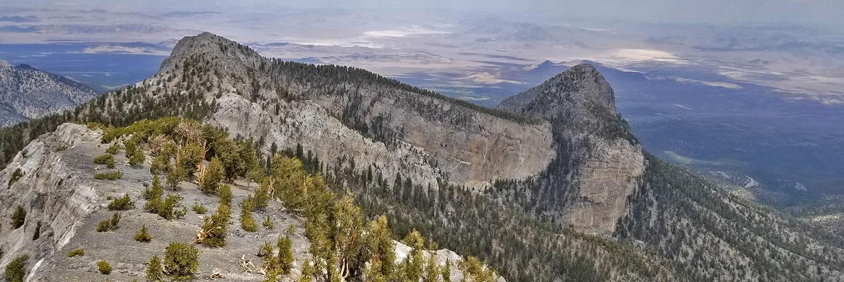 Mummy's Head from the Northern Rim Tip   Mummy Mountain Northern Rim Overlook, Spring Mountain Wilderness, Nevada