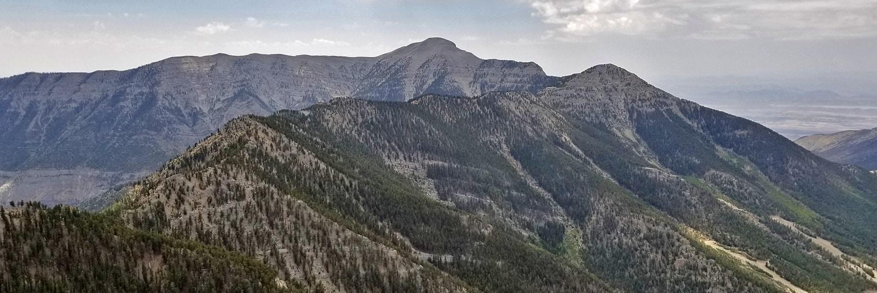 Ridge Passage from Lee Peak to Mummy Mt. with Charleston Peak in Background   Mummy Mountain Northern Rim Overlook, Spring Mountain Wilderness, Nevada