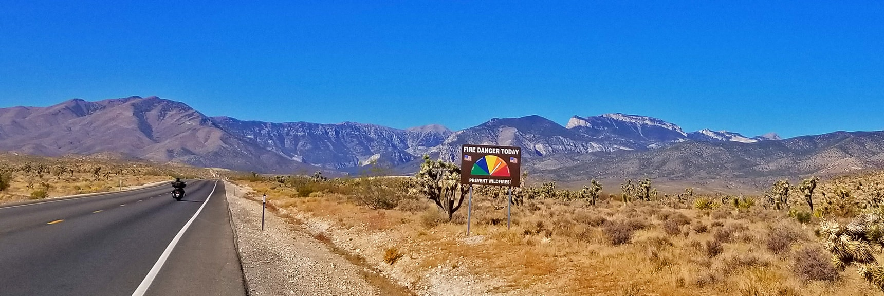 Closing in on the Spring Mountains: Mummy, Fletcher and Charleston in View| Harris Springs Canyon | Biking from Centennial Hills | Spring Mountains, Nevada