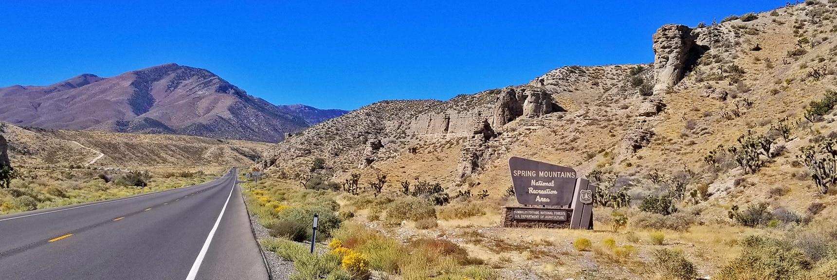 Spring Mountains Entrance on Kyle Canyon Rd | Harris Springs Canyon | Biking from Centennial Hills | Spring Mountains, Nevada