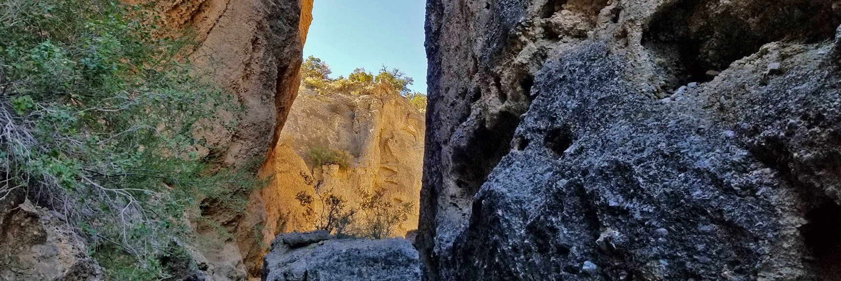 The Slot Canyon Portion is a Series of Narrow Areas Alternating with Open Areas | Harris Springs Canyon | Biking from Centennial Hills | Spring Mountains, Nevada