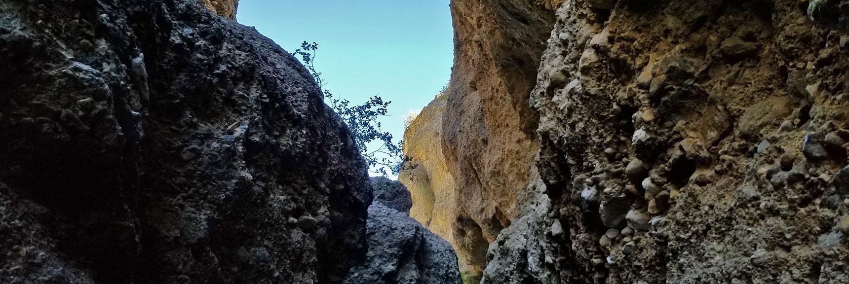 Blue Sky Seen Above the Slot Canyon | Harris Springs Canyon | Biking from Centennial Hills | Spring Mountains, Nevada