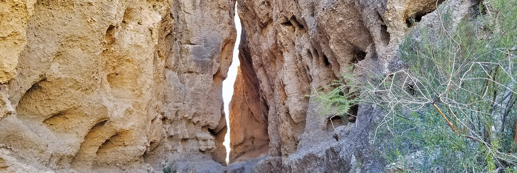 Narrow Portion of the Slot Canyon, Ribbon of Light Ahead | Harris Springs Canyon | Biking from Centennial Hills | Spring Mountains, Nevada