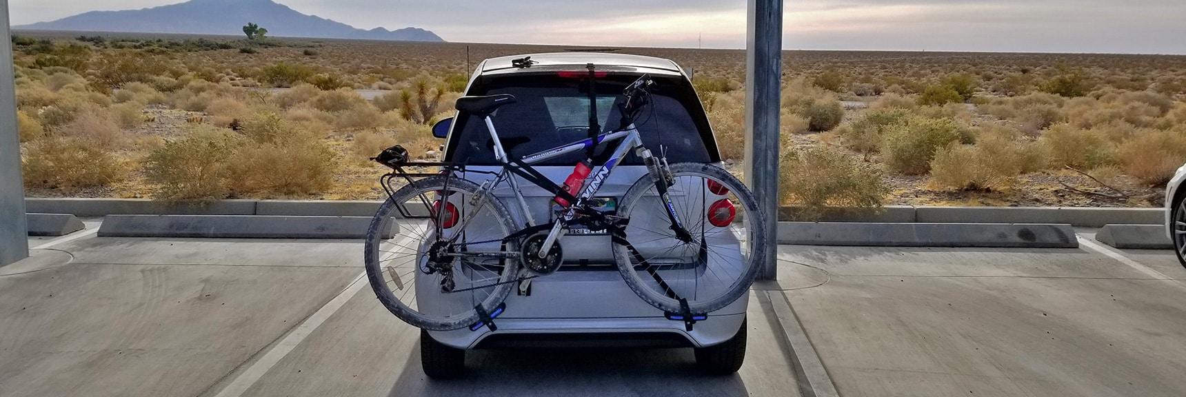 Rear View of Mounted Bike | Smart Car Bike Rack and Mountain Bike Test, Sheep Range, Nevada