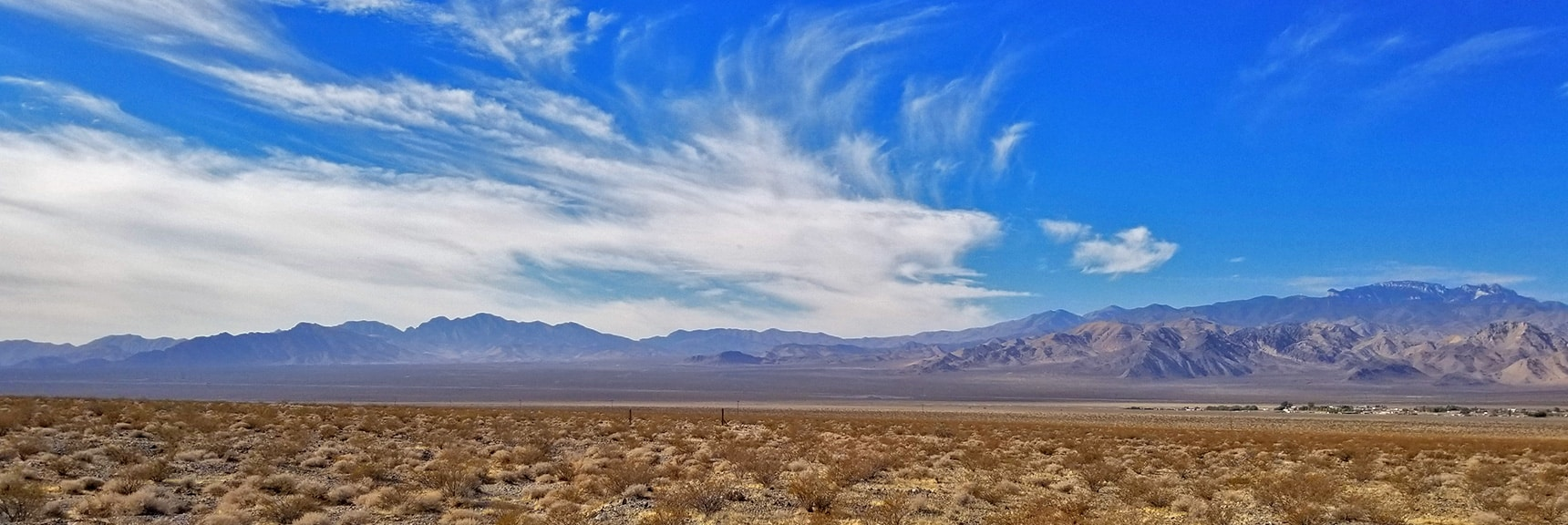 View Across the Valley Toward the Spring Mountains and La Madre Mountains | Smart Car Bike Rack and Mountain Bike Test, Sheep Range, Nevada