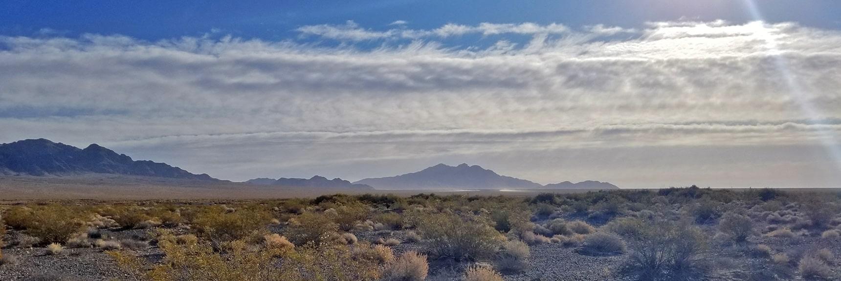 View Back Down Alamo Road Toward the Southern Sheep Range, Fossil Ridge and Gass Peak   Lower Alamo Road   Sheep Range   Desert National Wildlife Refuge, Nevada