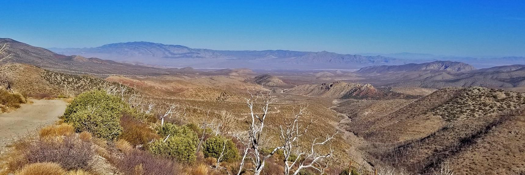 View Down Canyon Toward Sheep Range & Gass Peak from 7,000ft on Harris Mt. Rd.  Harris Springs Rd, Harris Mountain Rd   Spring Mountains Wilderness, Nevada