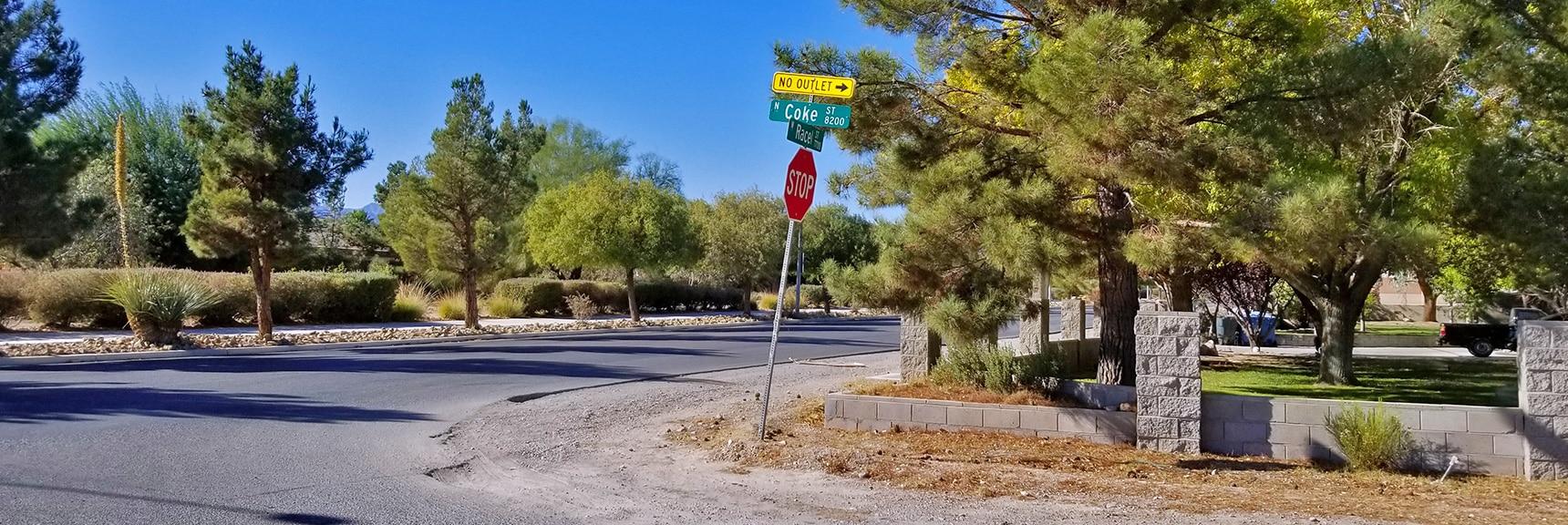 Right Turn North Onto Coke Street from Rachel   Centennial Hills Mountain Bike Conditioning Adventure Loop, Las Vegas, Nevada