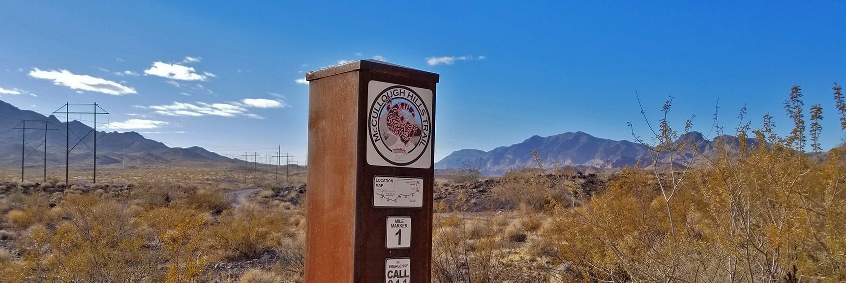 Mile 1 Marker on the McCullough Hills Trail   McCullough Hills Trail in Sloan Canyon National Conservation Area, Nevada