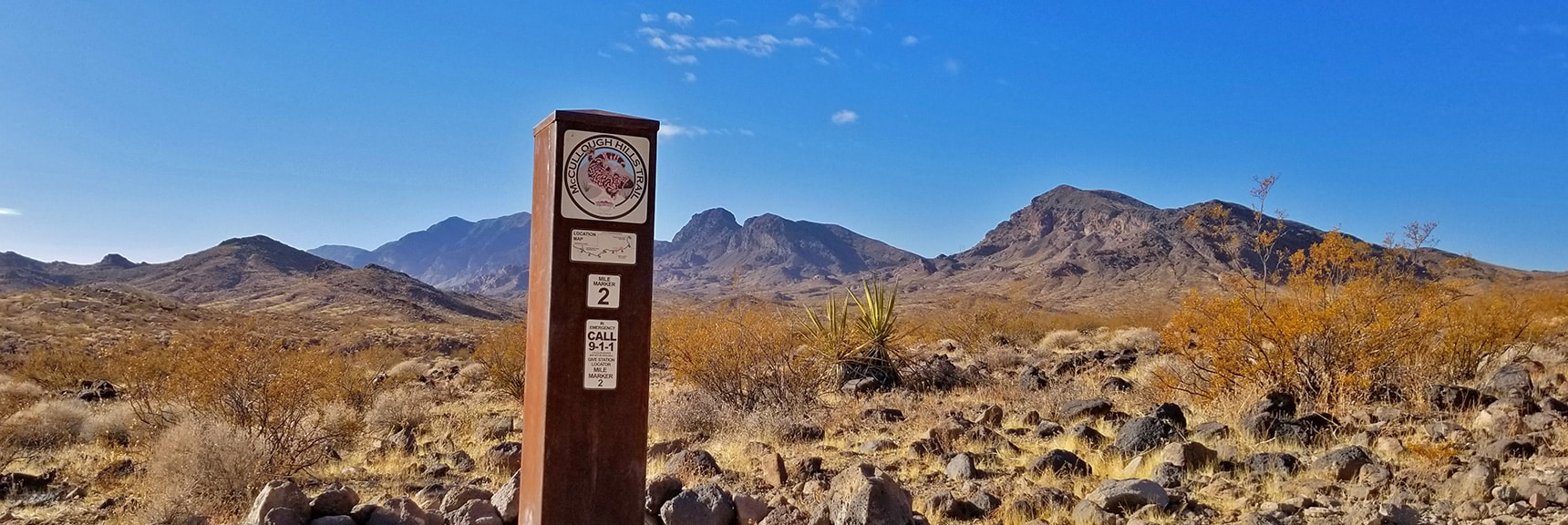 Mile 2 Marker, Evidence of Ancient Volcanic Action   McCullough Hills Trail in Sloan Canyon National Conservation Area, Nevada